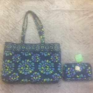 Vera Bradley tote and matching wallet.